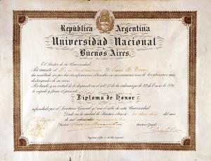 JBT 012 Diploma de honor Univ Bs As